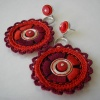 Earrings red circle